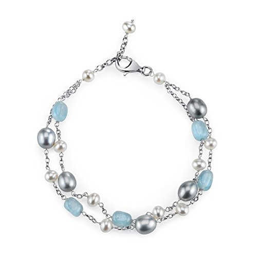 Sterling Silver Milky Aquamarine and Pearl Chain Link Station Tin Cup Bracelet for Women, 7.5