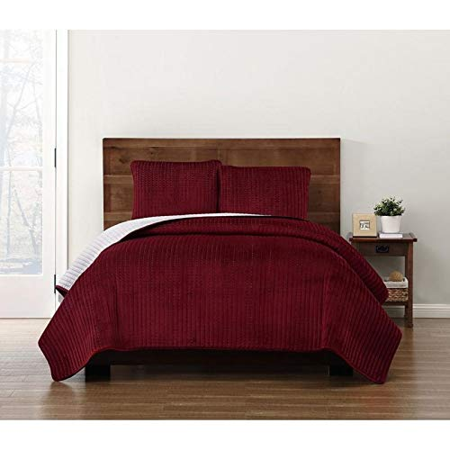 HNU 2 Piece Modern Crystal Face Pick Stitch Velvet Quilt Set Designer Style Solid Color Pattern Plush Red Twin Bedding Set Outstanding Warmth Fashionable Bedroom Decor Amazingly Soft Pleated Finish