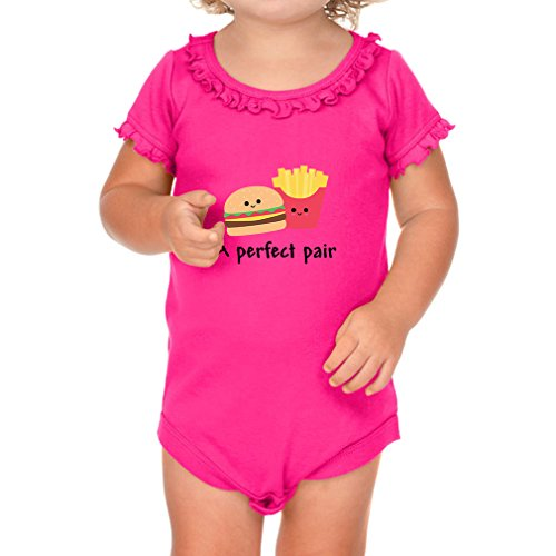 Price comparison product image A Perfect Pair Burger And Fries Sunflower Ruffle Short Sleeve Bodysuit Hot Pink 18 Months