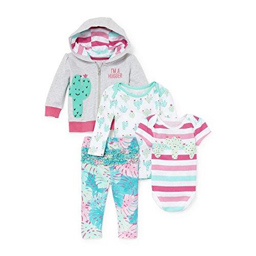 Kids Girl Places Sweatshirt - The Children's Place Baby Girls Printed Hoodie Bodysuits and Pants 4-Piece Playwear Set, Heather 9-12MOS