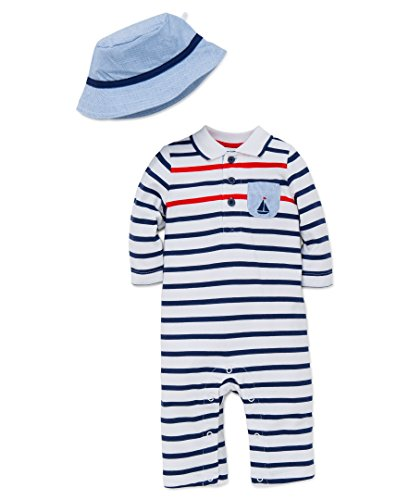 Little Me Baby Boys' Knit Sail Stripe Coverall with Hat, Navy, 3 Months