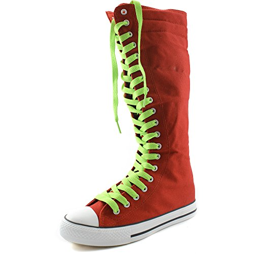 Boots DailyShoes Canvas Punk Sneaker Womens Casual Mid Boots Tall Green Red Lace Flat Mint Calf PqPrw85
