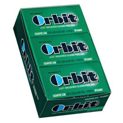 Orbit-Wrigley's Sugarfree Gum, 12/14ct Packs, Spearmint