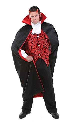 Vampire Vest Set With Long Cape Adult Costume Size -