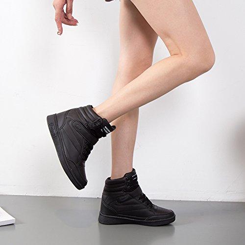 Chaussures Femme Sneakers Compensé Basket Wedge PU Rose Montante 7 Cuir Lacets Heels Noir Blanc Talon cm Scratch Sport Compensées Plat qrw1dqn