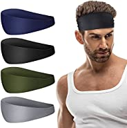 Favofit Headbands for Women and Men, 4 Pack, Elastic Unisex Sweat Bands for Sport and Fitness Workout, Super F