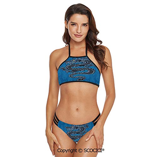 SCOCICI Bikini Swimwear Black Dragon on Blue Tribal Background Year of The Drag