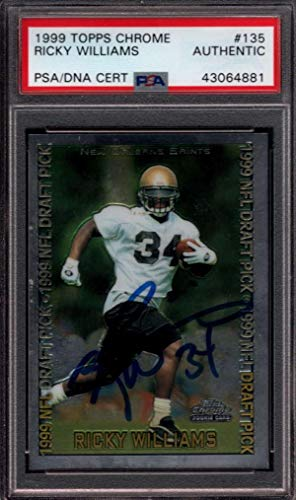 1999 Topps Chrome #135 Ricky Williams Rookie Authentic Signed Auto Jgr2016 - PSA/DNA Certified - Football Slabbed Autographed Rookie Cards 1999 Topps Chrome Football