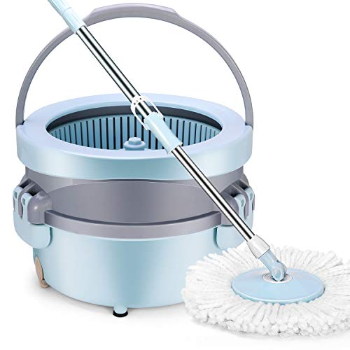 YAMTION 360 Spin Mop Bucket System for FloorCleaningSystem with Adjustable Stainless Pole with 2 Microfiber Mop Heads