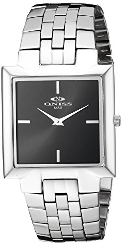 Oniss Paris Men's Swiss Quartz Stainless Steel Dress Watch, Color:Silver-Toned (Model: ON5544-MBK)