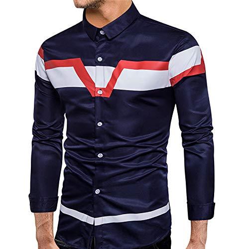 Navy bluee Small Men's Cotton Shirt  Geometric Long Sleeve