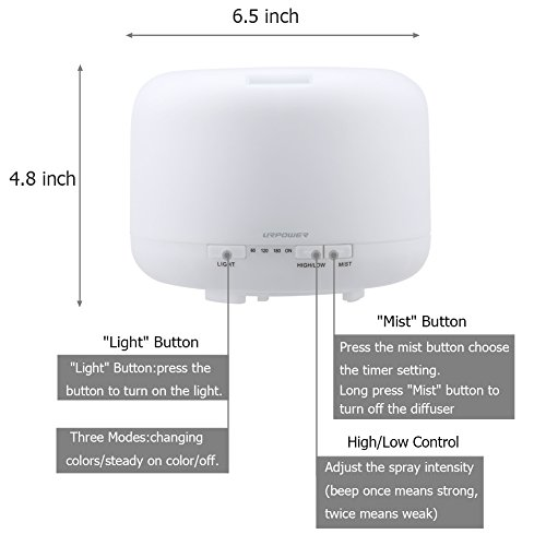 Large Product Image of URPOWER 500ml Aromatherapy Essential Oil Diffuser Humidifier Room Decor Lighting with 4 Timer Settings, 7 LED Color Changing Lamps and Waterless Auto Shut-off