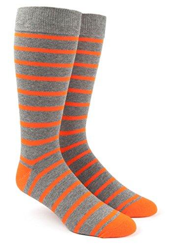 (The Tie Bar Trad Stripe Tangerine Men's Cotton Blend Dress Socks)