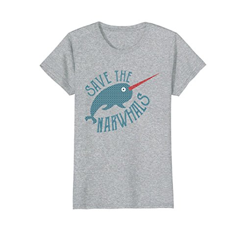 Womens Save The Narwhals Vintage Retro Pattern T-Shirt Medium Heather Grey