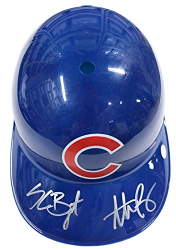 Chicago Cubs Autographed Helmets - Kris Bryant and Anthony Rizzo Chicago Cubs Dual Signed Autographed Rawlings Full Size Souvenir Replica Batting Helmet PAAS COA