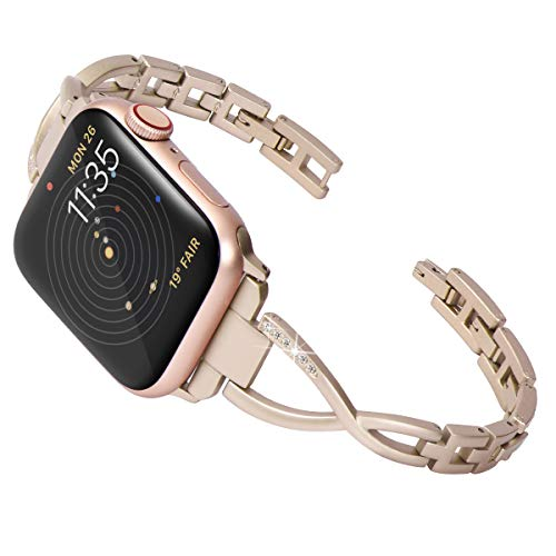 (Surace Stainless Steel Band Compatible for Apple Watch Band 42mm 44mm Women Link Strap Accessories Metal Wristband Replacement for iWatch Series 4 Series 3 Series 2 Series 1, Champagne Gold)