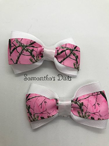 (Handmade Pink Camo Girls Hair Bow Set, Little Girl Bows, Pigtail Hair Bows, Toddler Hair Bows,)