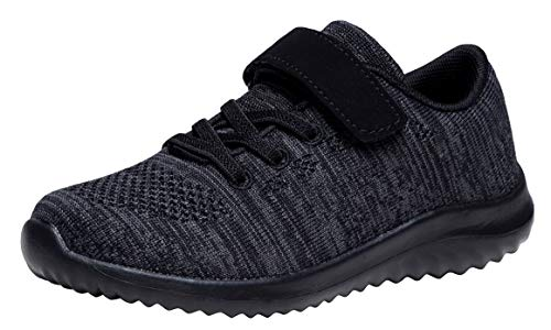 Umbale Girls Flyknit Sneakers Comfort Running Shoes(Toddler/Kids) (13 M US Little Kid, All Black)
