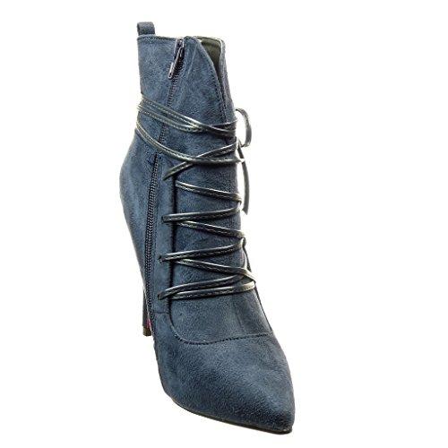 Angkorly - Scarpe da Moda Stivaletti - Scarponcini stiletto sexy donna nodo lacci Tacco Stiletto tacco alto 9.5 CM - Blu