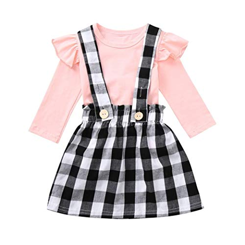 Little Girl Autumn Skirt Sets,Jchen(TM) Toddler Baby Kids Girls Long Sleeve Solid Ruched Tops Plaid Skirt Outfits 0-4 Y (Age: 2-3 Years Old) by Jchen Baby Sets