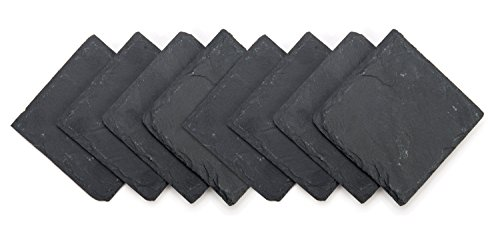 "Trademark Innovations Slate Drink Coasters - Set of 8 - 4"" x 4"""