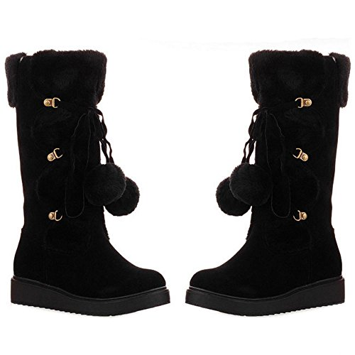 COOLCEPT Women Boots Pull On Thick Sole Black TvQwCpKPP