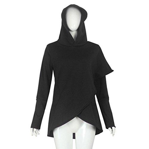 Manga Outwear Larga Abrigo Capucha Negro Sudadera Dobladillo Mujer Capucha Tops asimétrica Venmo Sudadera con Mujeres qwtU4T
