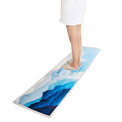 Non Slip Watercolor Kitchen Mat Long Hallway Rug Runner Asorbent Bathroom Mat Standing Comfort Mat Mountains Blue 18''x71''