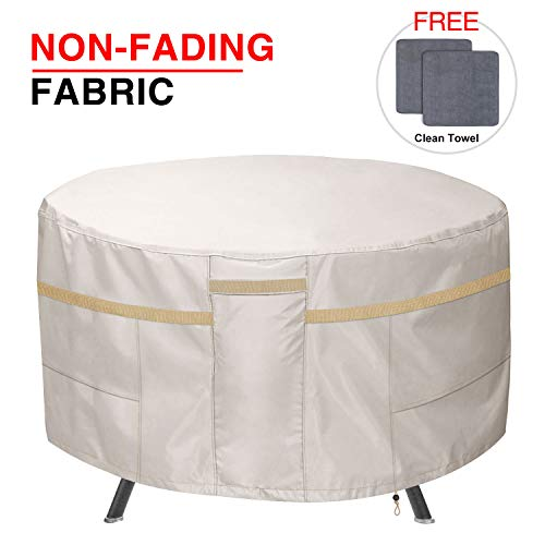 (Patiassy 100% Waterproof Round Patio Table Set Cover - Outdoor Furniture Cover Heavy Duty 3 Layers - Fits Table Chairs 52 inch Dia - Free 2 PCS Towels, 5 Years Warranty)