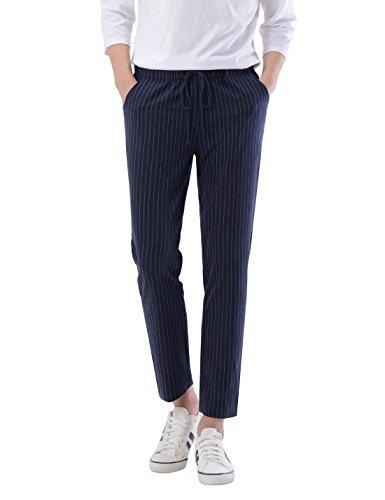 NEARKIN (NKNKSL811 Mens Waistband Trendy Pinstripe Long Slacks Pants Navy 31W/29L(Tag Size L)