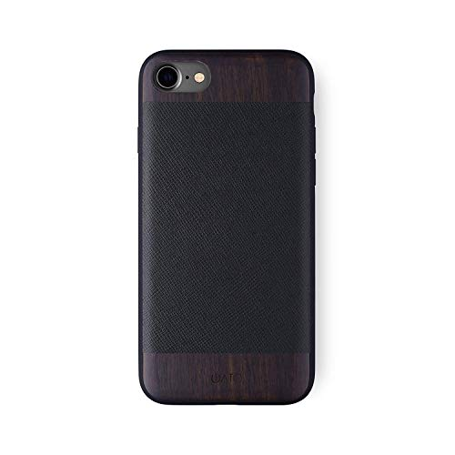 iATO iPhone 7/8 Designer Case - Black Saffiano Genuine Leather and Real Bois de Rose Wood Premium Protective Shockproof Slim Back Cover. Unique & Classy Wooden Snap on Bumper for iPhone 7 / iPhone 8