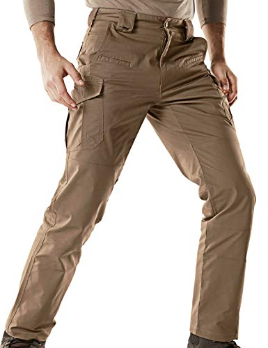 CQR Men's Tactical Pants Lightweight EDC Assault Cargo, Flexy Cargo(tfp513) - Coyote, 32W/32L