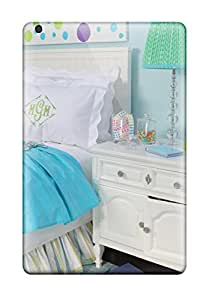 Theodore J. Smith's Shop Design High Quality Girls Bedroom In Bright Blue With White Nightstand And Bed With White Bedding And Whimsical Lamp Cover Case With Excellent Style For Ipad Mini 3