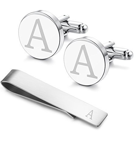 Classic Engraved Initial Cufflinks and Tie Clip Bar Set Alphabet Letter Formal Business Wedding Shirts A (Boxed Gift Cufflink Set)