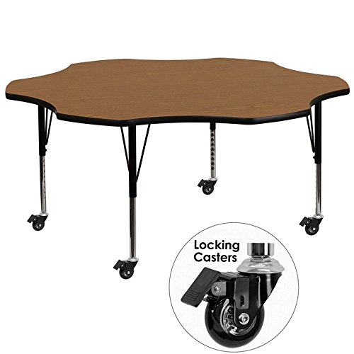 """Price comparison product image StarSun Depot Mobile 60"""" Flower Oak Thermal Laminate Activity Table - Height Adjustable Short Legs 60"""" W x 60"""" D x 17.37"""" - 25.37"""" H"""