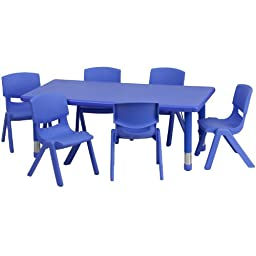 Flash Furniture Adjustable Rectangular Blue Plastic Activity Table Set with 6 School Stack Chairs, 24 x 48