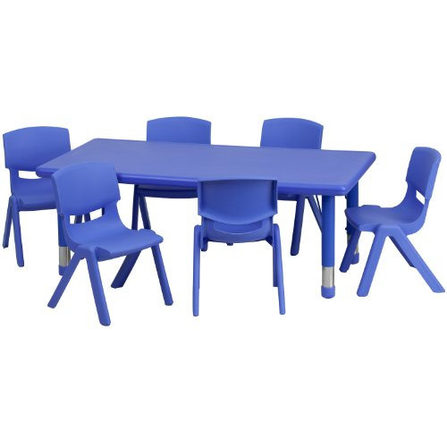 Flash Furniture 24''W x 48''L Rectangular Blue Plastic Height Adjustable Activity Table Set with 6 Chairs