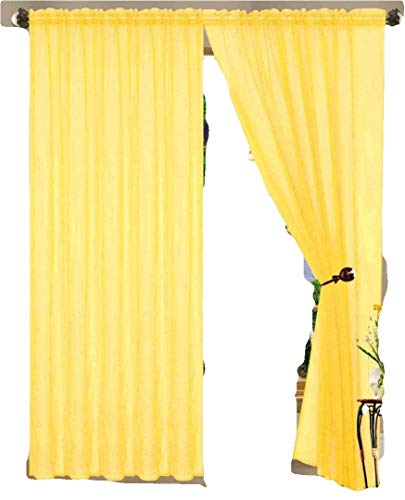 55 inch x 84 inch Sheer Curtains Window Voile Panels, Set OF 4 (YELLOW)