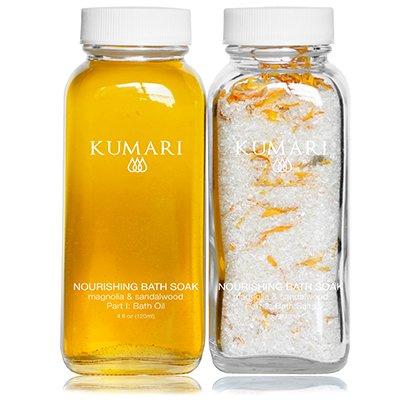 Nourishing Bath Soak by JIYA BEAUTY Magnolia & Sandalwood. Two-Part soak with Organic Oils, Botanicals, Epsom Salts and Calendula. Nourish Skin, Destress and Relieve Muscle Tension. -