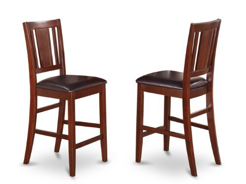 (East West Furniture BUS-MAH-LC Counter Height Dining Chair Set with Faux Leather Upholstered Seat, Mahogany Finish)