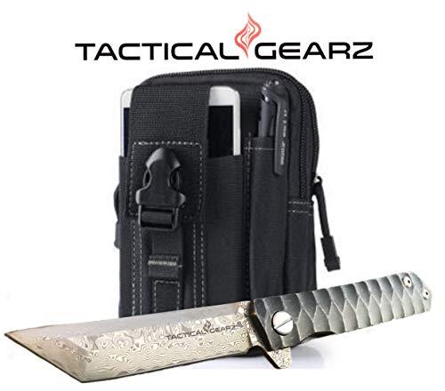 TG Rogue X, Real Damascus! Black Titanium (TiN) Stainless Steel EDC Folding Pocket Knife w/Sheath! Ball Bearing Pivot System! Razor Sharp Damascus Blade! (XT Bundle) ()