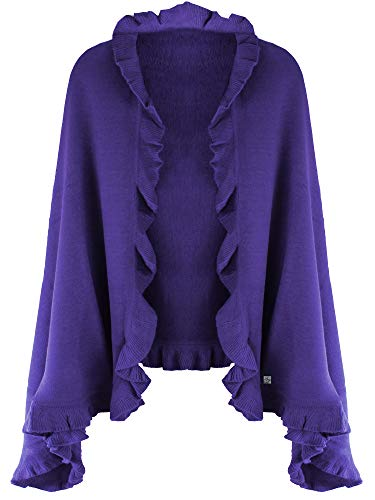 Purple Knit Poncho Shawl With Ruffled Edge (Knit Ruffle Edge)