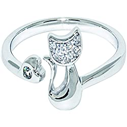 Wristchie Womens Fashion Jewelry 925 Sterling Silver Adjustable Ring Cute Cat Kitty (Silver)