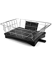 Tebery Premium Stainless Steel Contertop Dish Drying Rack Drain Dish Rack with Removable Cutlery Tray and Drainboard with Adjustable Swivel Spout