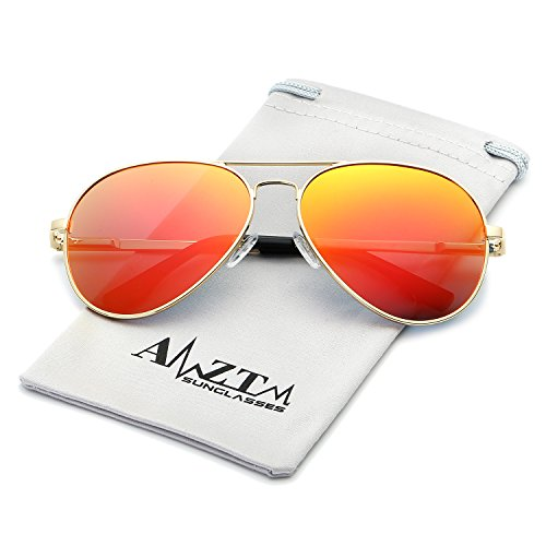 AMZTM Top Quality Classic Retro Eyewear Double Bridge Metal Frame Trend Fashion Mirrored Reflective REVO Polarized Lens Designer Aviator Sunglasses For Women and Men (Gold Frame Orange Red Lens, - Sunglasses Reflective Orange