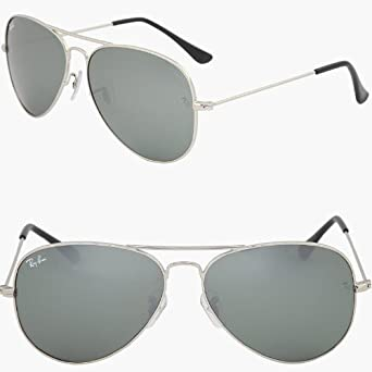 c20afd27a8 Ray Ban Aviator Rb3025 W32 75 Sunglasses - Silver (58Mm)  Amazon.co.uk   Clothing