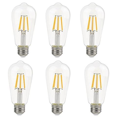 La Farah Edison LED Bulb 6W Non-Dimmable 6 Pack, E26 60W Edison Bulb Equivalent, Antique ST58 Shape, 2700K,Warm White,600lm, LED Edison Bulbs Clear, ETL (60w Led Edison Bulb)