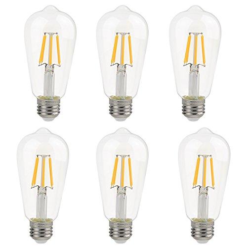 La Farah Edison LED Bulb 6W Non-Dimmable 6 Pack, E26 60W Edison Bulb Equivalent, Antique ST58 Shape, 2700K,Warm White,600lm, LED Edison Bulbs Clear, ETL Listed