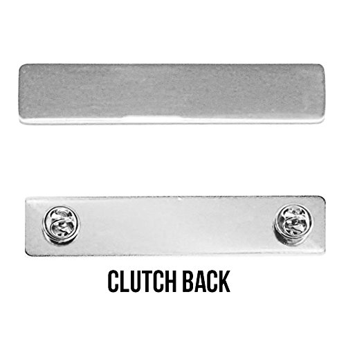 Engraved Metal Name Badges Engraved Metal Security Police Fire Military Nameplates (Plain Silver, Clutch ()