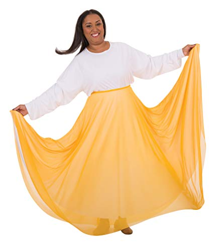 Full Skirt Gold (Body Wrappers Adult Long Full Chiffon Skirt (Gold, S/M) - 538)